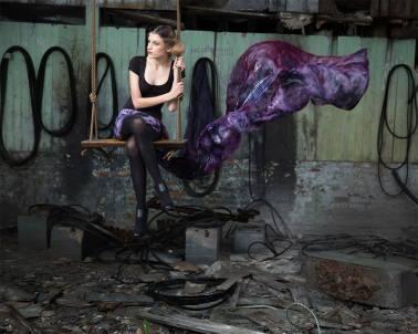model on a swing, purple silk