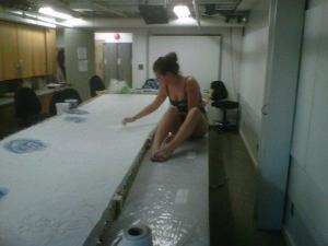Me, hand painting 5m of silk for my grad piece at NBCCD.